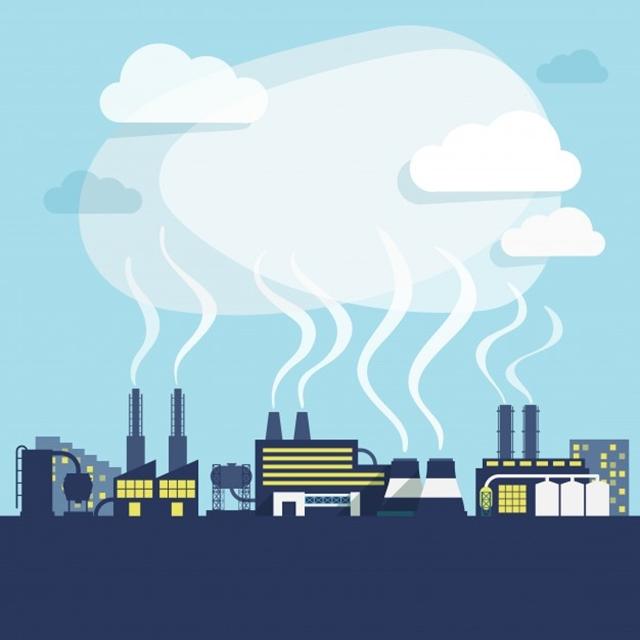 Ilustrasi Contoh Pencemaran Udara Berupa Asap Pabrik dan Industri